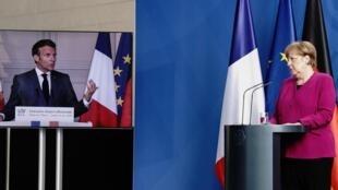 Rais wa Ufaransa Emmanuel Macron na Kansela wa Ujerumani Angela Merkel wakati wa mkutano kupitia video Mei 18, 2020.
