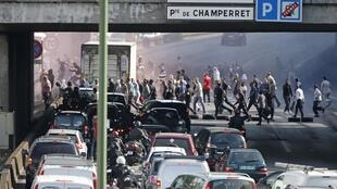 Taxi drivers block the Paris ringroad last June