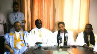 Wagombea wanne wa upinzani katika mkutano na waandishi wa habari. Kutoka kushoto kwenda kulia, Sidi Mohamed Ould Boubacar, Kane Hamidou Baba, Mohamed Ould Maouloud na Biram Dah Abeid.