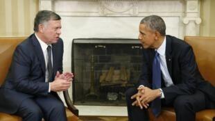 Tổng thống Mỹ Barack Obama (phải) tiếp Vua Jordani Abdullah tại Nhà Trắng ngày 3/2/2015.
