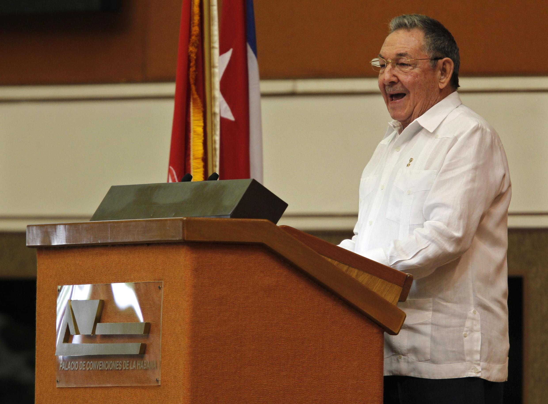 Raul Castro, lors de son discours d'inauguration du 6e Congrès du parti unique cubain, le 16 avril 2011.