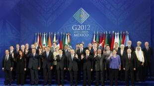 Le G20 au grand complet à Los Cabos, au Mexique, le 18 juin 2012.