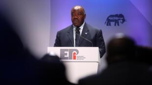Le président gabonais Ali Bongo le 11 octobre 2018 à Londres loirs d'une conférence.