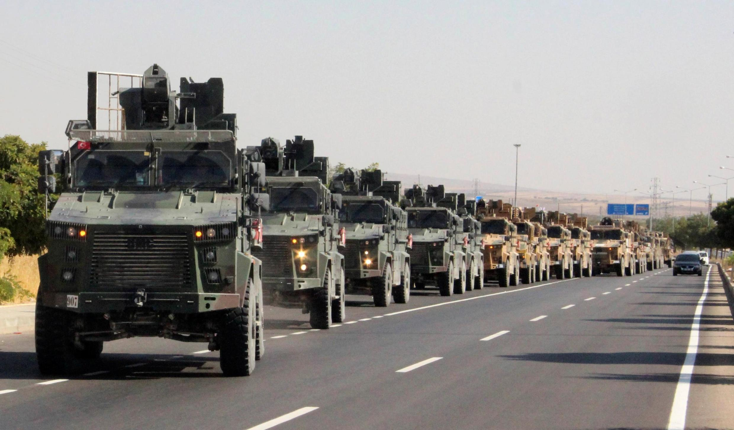 A Turkish miltary convoy is pictured in Kilis near the Turkish-Syrian border, Turkey, October 9, 2019.