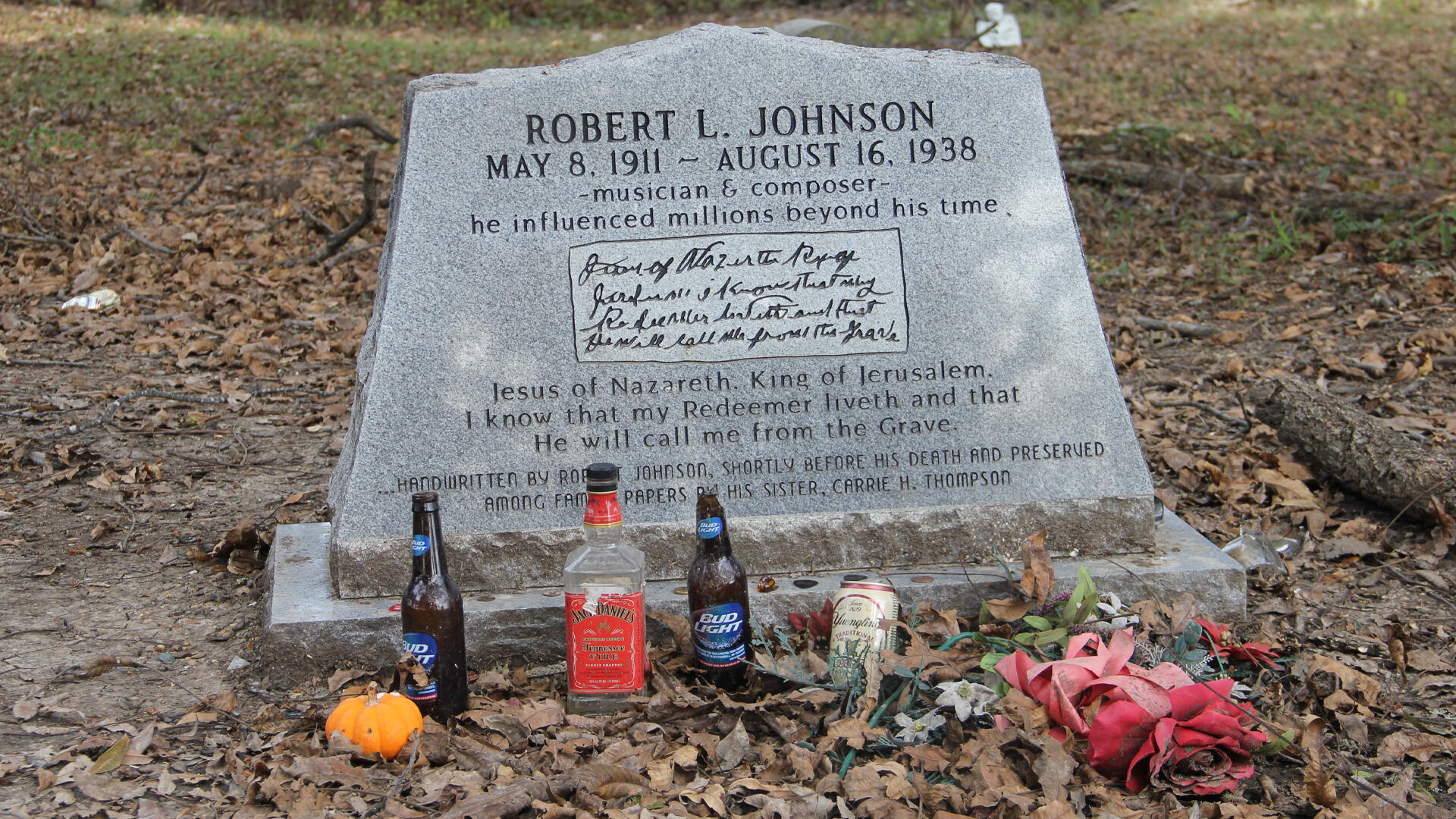 La tombe de Robert Johnson à Greenwood (Mississippi).