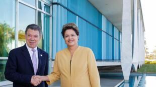Presidenta Dilma Rousseff recebe o Presidente da Colômbia, Juan Manuel Santos em foto de arquivo (Brasília, 2014).