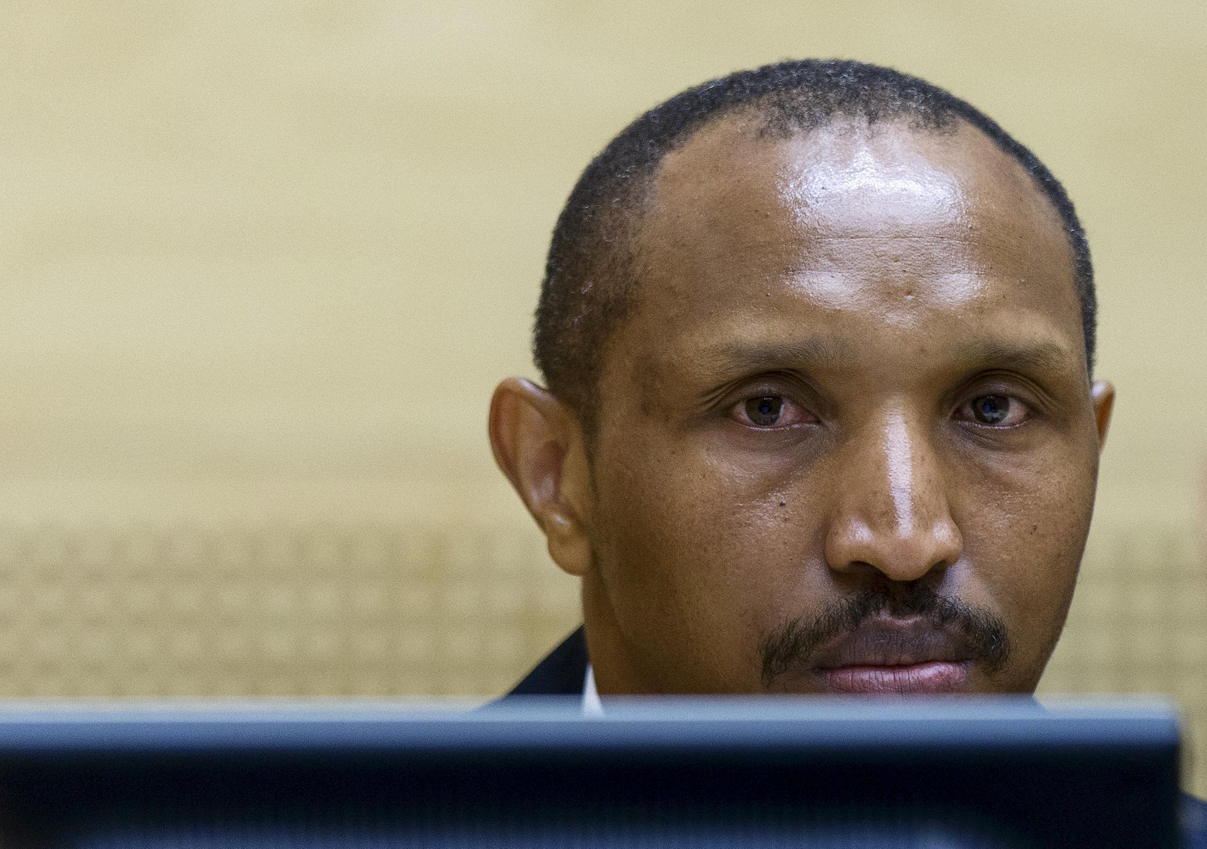 File photo of Democratic Republic of Congo warlord Bosco Ntaganda at the International Criminal Court for his war crimes trial in 2015.