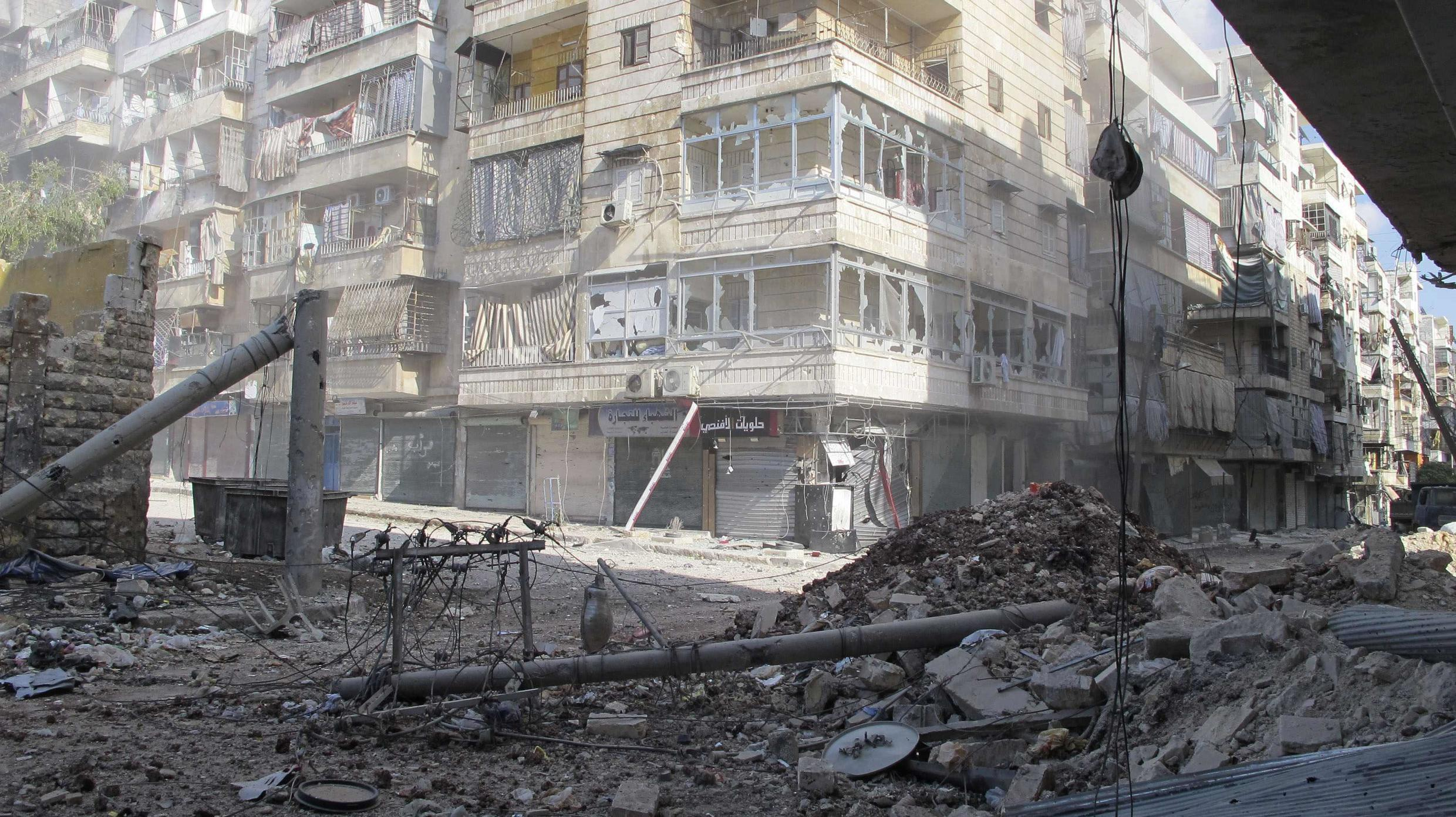 The ruined streets of Aleppo where government troops are fighting rebels of the Free Syrian Army