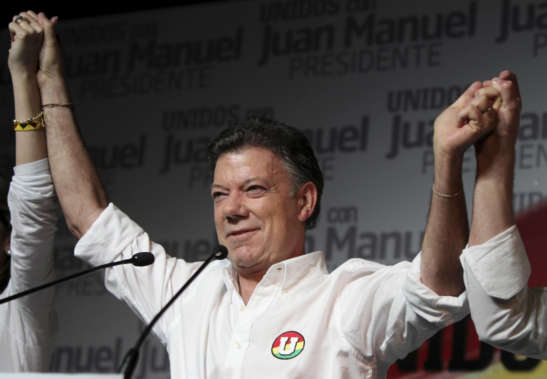 Le candidat à l'élection présidentielle colombienne, Juan Manuel Santos.