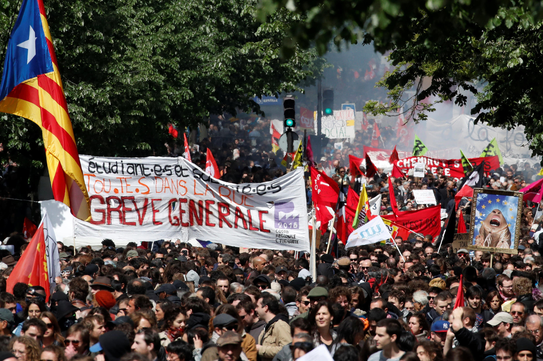 تصویری از تظاهرات اول ماه مه ۲٠۱٨ در پاریس