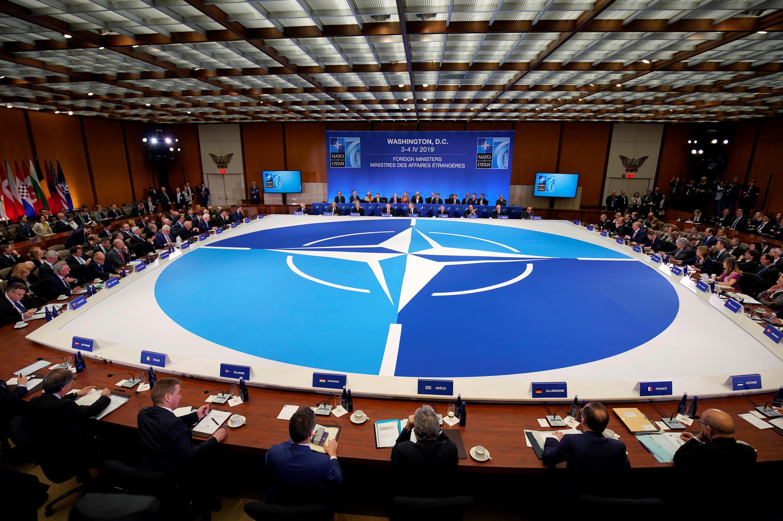 Ngoại trưởng Mỹ Mike Pompeo phát biểu tại hội nghị các ngoại trưởng NATO, Washington, 04/04/2019.