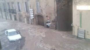 Lodève flooded by muddy water, 12 September 2015