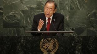 بان کی مون، دبیر کل سازمان ملل متحد، در هفتادمین نشست مجمع عمومی سازمان ملل متحد امروز دوشنبه ۶ مهرماه/ ٢٨ سپتامبر ٢٠١۵