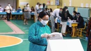 Eleições legislativas na Mongólia. Ulaanbaatar, 24 de Junho de 2020.