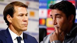 Les entraîneurs Rudi Garcia (Olympique Lyonnais) et Bruno Lage (Benfica).