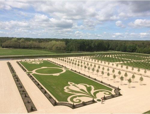 Le jardin à la française du château de Chambord, reconstitué en 2017.