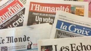 Capas dos diários franceses do dia 10 de Abril de 2013