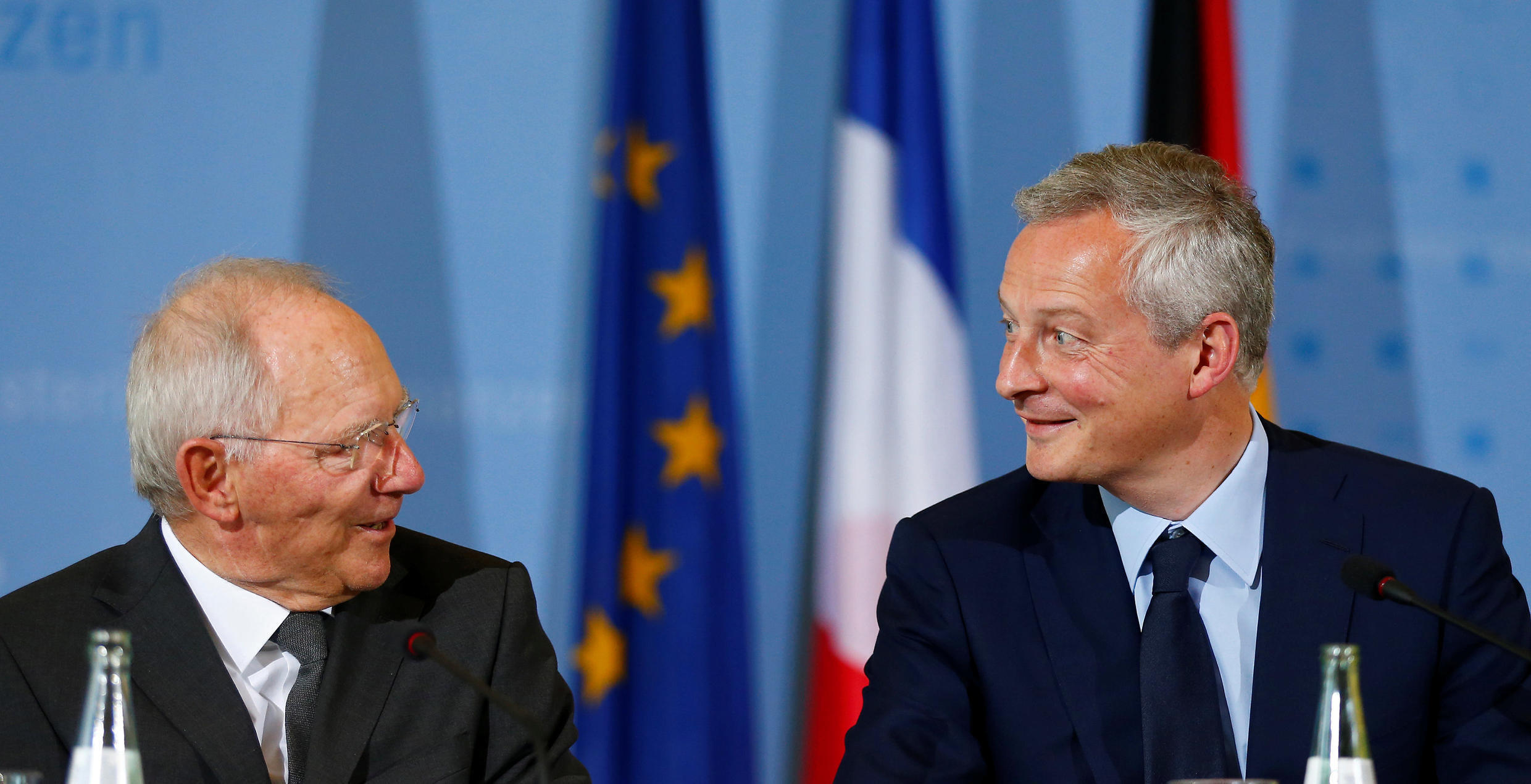 German Finance Minister Wolfgang Schaeuble and French Economy minister Bruno Le Maire attend a news conference in Berlin, Germany, May 22, 2017.