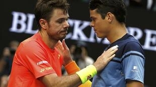 Wawrinka and Raonic after their fourth round match at the Australian Open.