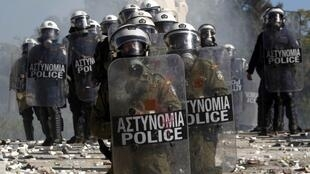 Clashes outside the Greek parliament on Wednesday left at least 42 people injured
