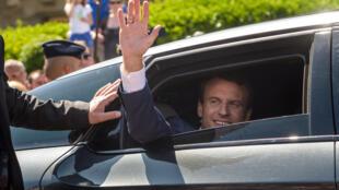 French President Emmanuel Macron after voting on Sunday