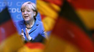 A Chanceler alemã, Angela Merkel, comemora vitória nas eleições deste domingo