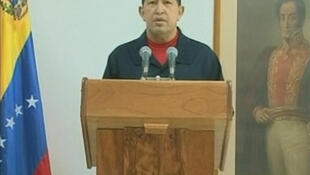 Hugo Chavez in a still from his TV address