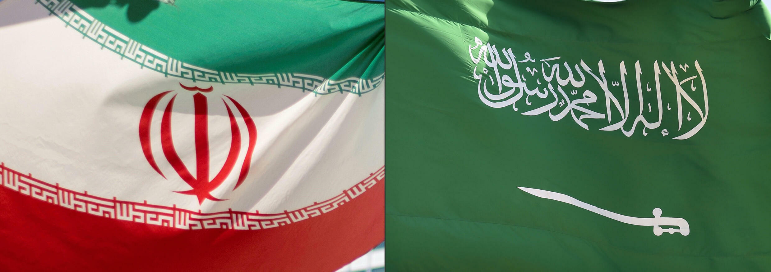 This combination of pictures shows the Iranian flag, left, and the Saudi Arabian flag -- officials from both countries have spoken positively about breakthrough talks on their relationship, cut since 2016