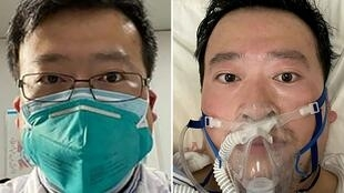 This combination of pictures created on February 7, 2020 shows undated photos obtained on February 7, 2020 of Chinese coronavirus whistleblowing doctor Li Wenliang whose death was confirmed on February 7 at the Wuhan Central Hospital, China.