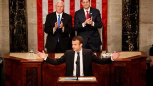 El animado discurso del líder francés, que habló en inglés, representó un giro dramático casi al final de una visita de Estado de tres días, en la que había demostrado su calurosa relación personal con Trump.