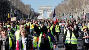 Lovely day for a protest: yellow vests in central Paris on Saturday.