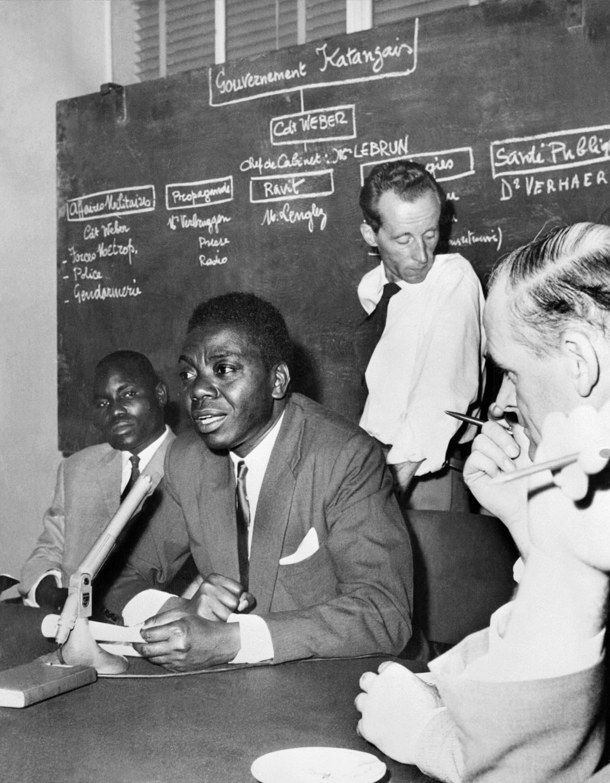 Moïse Tshombé, en conférence de presse, le 26 juillet 1960.