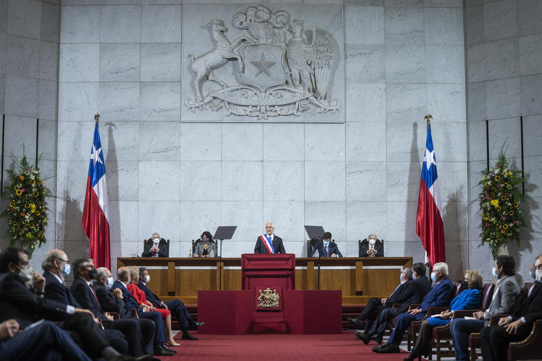 El presidente de Chile, Sebastián Piñera, presenta su informe anual en el Congreso Nacional en Valparaíso, Chile, el 1º de junio de 2021