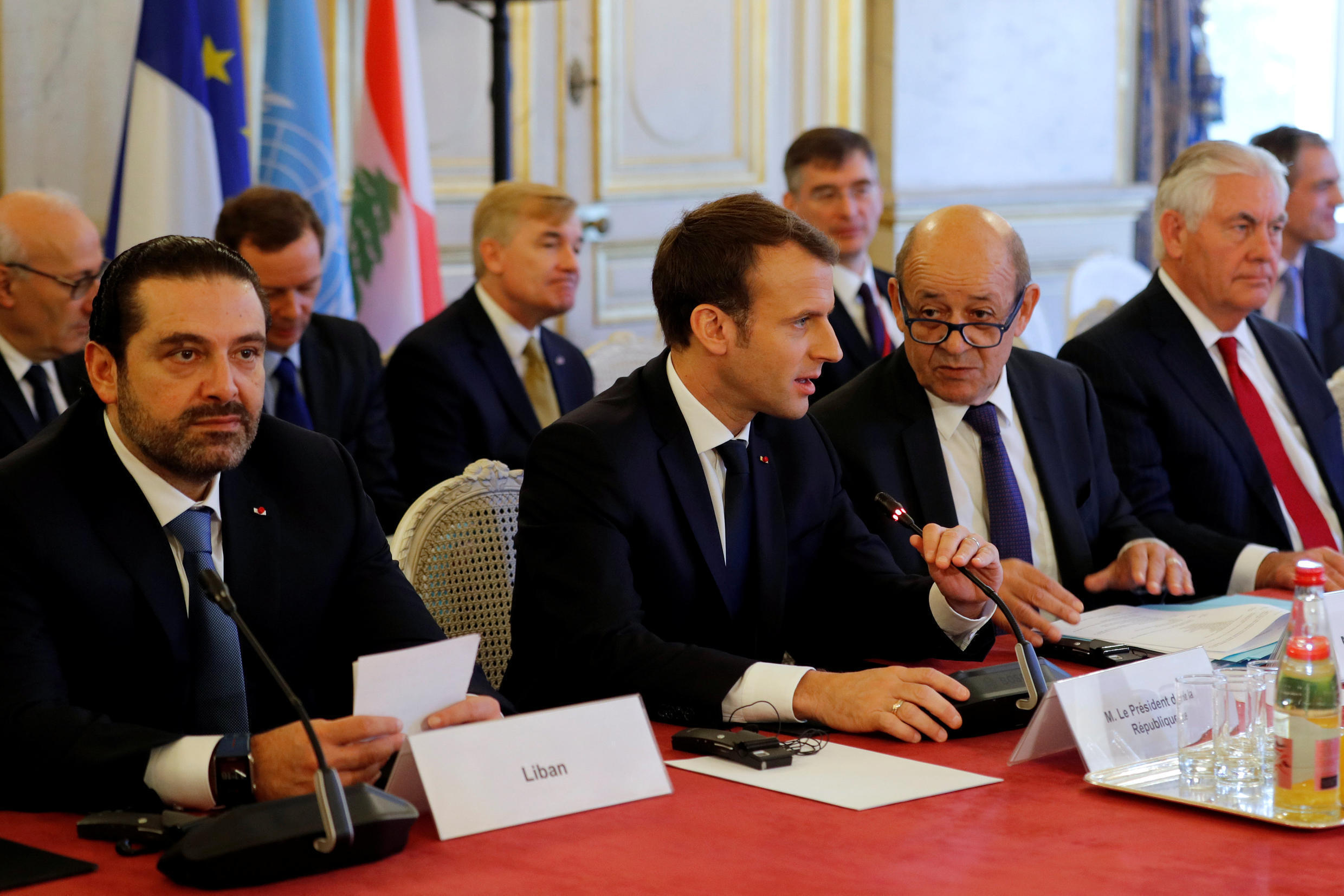 Lebanese Prime Minister Saad Hariri and French President Emmanuel Macron at the International Support Group for Lebanon meeting in Paris, France, on 8 December, 2017.