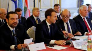 Sa'ad Hariri  Firaministan Labanon - da shugaban Faransa Emanuel Macron a wurin taron neman  zuba jari a Labanon