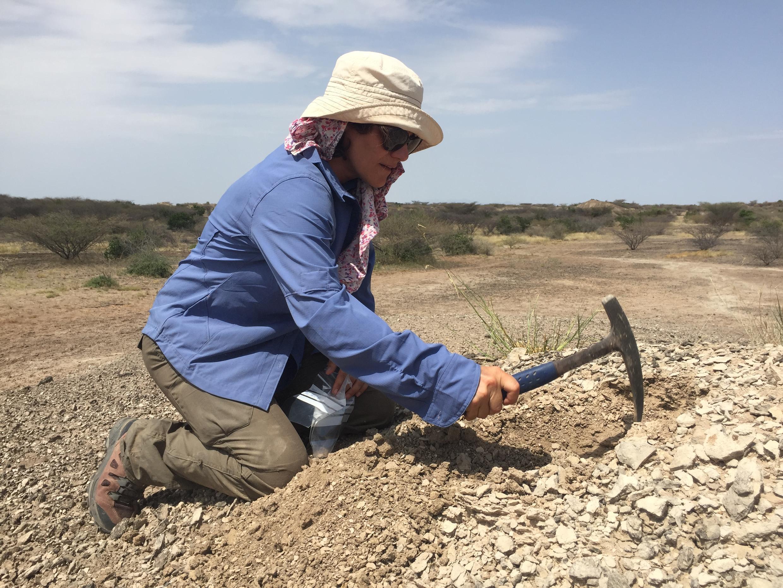 Doris Barboni, palynologue, prend des échantillons de terre pour reconstituer la végétation de la vallée sur plusieurs millions d'années