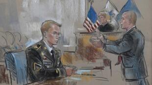 Bradley Manning et son avocat représentés lors de la première journée du procès du soldat, le 3 juin 2013.