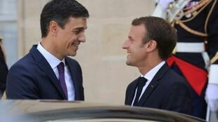 Spain's Pedro Sanchez, right, visited French President Emmanuel Macron in Paris in June, shortly after he becoming prime minister