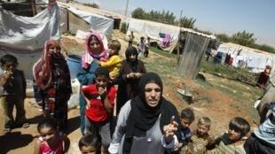 Des réfugiés syriens, à Terbol, au Liban. Le pays compte 600 000 réfugiés syriens à l'heure actuelle.