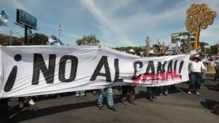 Des manifestants, le 10 décembre 2014, à Managua contre la construction du canal interocéanique.