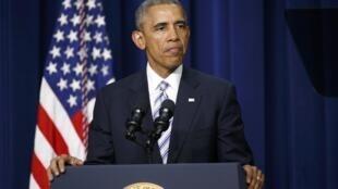 Le président américain Barack Obama, lors du Sommet mondial contre le terrorisme, organisé à Washington, le 18 février 2015.