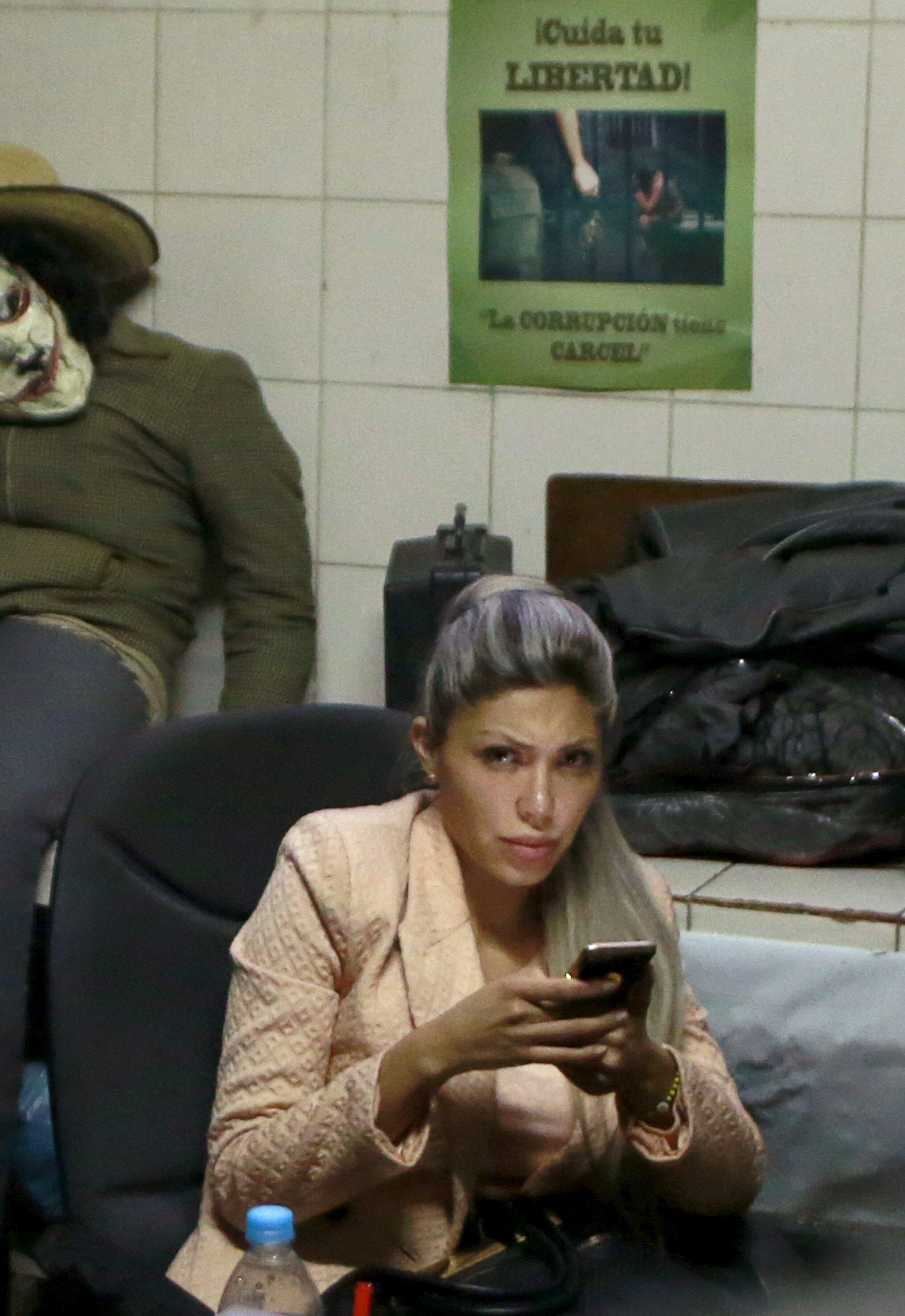 Gabriela Zapata en una comisaría de La Paz, este 26 de febrero de 2016.