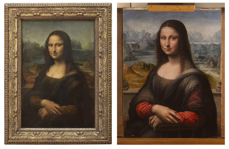 Подлинник Леонардо Да Винчи из Лувра (слева) и копия из музея Прадо