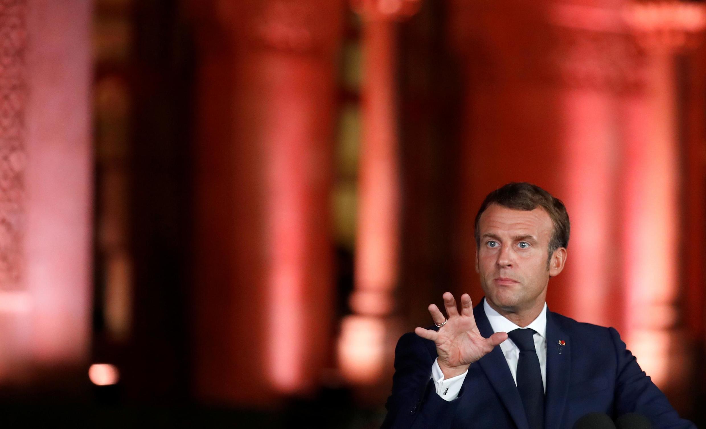 Emmanuel Macron wakati wa mkutano wake na waandishi wa habari, Residence Pine, huko Beirut, Septemba 1, 2020.