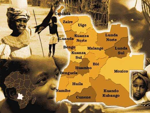 Mapa político de Angola
