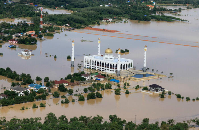 An aerial view shows floodwaters in Hat Yai district
