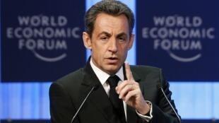 Sarkozy speaks at the World Economic Forum in Davos