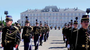 Les apprentis gendarmes de l'Ecole des officiers de la gendarmerie nationale de Melun.