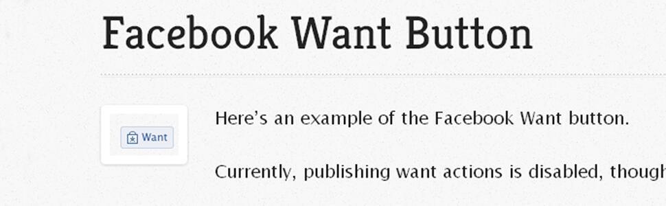 Le futur bouton « Je veux » de Facebook selon le blogueur Tom Waddington.