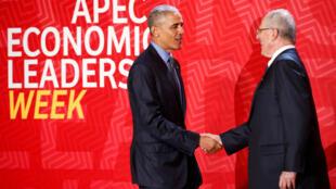 Os  Presidentes Barack  Obama dos Estados Unidos  e Pedro Kuczysnki do Peru durante a cimeira da APEC.19 de Novembro de 2016